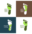 Footprints with green leaves vector image
