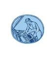 Auto Mechanic Automobile Car Repair Etching vector image