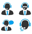 Call Center Managers Flat Bicolor Icons vector image