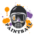 Paintball emblem - mask and paint blots vector image