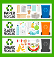 banners with paper plastic organic trash vector image