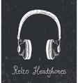 hand drawn retro headphones earphones vector image