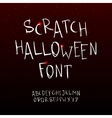 hand drawn scratchy Halloween font vector image
