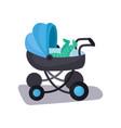 little baby lying in a blue modern baby pram vector image