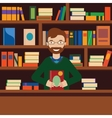 Man on background with bookcase Librarian or vector image