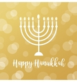Menorah Candles on Golden Bokeh Background Happy vector image