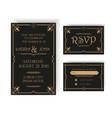Wedding Invitation and RSVP Card - Art Deco vector image