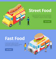fast and street food minivans selling hotdogs vector image