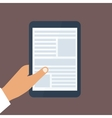 Human hand holds tablet pc with opened site page vector image