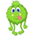 Hairy green monster cartoon vector image vector image