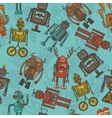 Hipster robot color seamless pattern vector image