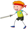 Little boy playing swordfight vector image vector image