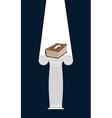 Bible is pedestal in dark Divine light illuminates vector image