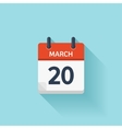 March 20 flat daily calendar icon Date vector image