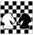chess board and two knights vector image vector image