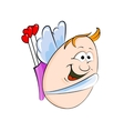 Cartoon Egg-shaped Valentine Cupid Character vector image