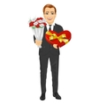 man holding bouquet of flowers and heart present vector image