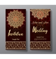 Wedding invitation card with arabic mandala vector image