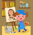 young painter studio vector image