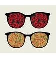 Retro sunglasses with retro reflection in it vector image