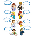 Business minded people with empty callouts vector image vector image