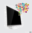 Computer display with cloud of application vector image vector image