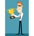 Cartoon office worker with with a trophy vector image
