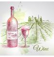 Hand drawn wine background vector image