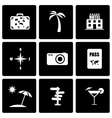 black travel icon set vector image