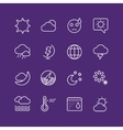 Weather icons outline set vector image