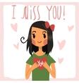 cartoon I miss you flat greeting card vector image