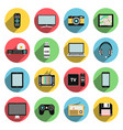 flat icons set of multimedia and technology vector image