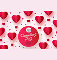 happy valentines day hot air heart balloon vector image