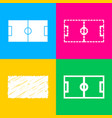 soccer field four styles of icon on four color vector image