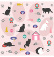 Seamless pattern cat icons vector image