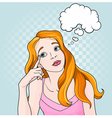 Comic Girl Thinking vector image vector image