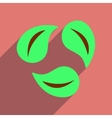 Flat web icon with long shadow leaves vector image