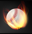 baseball on fire burning style vector image