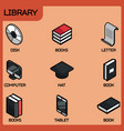 library color outline isometric icons vector image