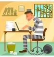 prisoner of work vector image