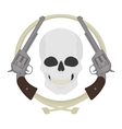 Skull with two revolvers and lasso emblem vector image