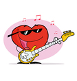 Red Heart Guy Playing A Guitar And Singing vector image