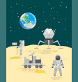 cartoon astronauts on moon surface landscape vector image