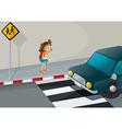 A little girl near the pedestrian lane vector image vector image