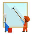 man cleaning and wash window vector image vector image