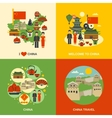 China Culture 4 Flat Icons Square vector image