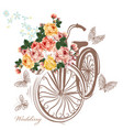 bicycle with basket fully of rose flowers vector image