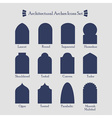 Blue silhouette architectural arches icons set vector image