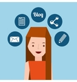girl long hair stand and social media icons design vector image