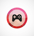 joystick circle pink triangle background icon vector image